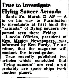 True (Magazine) to Investigate Flying Saucer Armada - Farmington Daily Times, The 3-21-1950