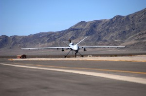 An MQ-9 Reaper Unmanned Aerial Vehicle taxis into Creech Air Force Base, Nev., March 13. It is the first operational airframe of its kind to land here. This Reaper is the first of many to be assigned to the 42nd Attack Squadron. (U.S Air Force photo/Senior Airman Larry E. Reid Jr.)