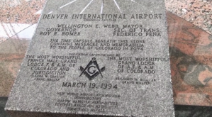 The airport's dedication stone